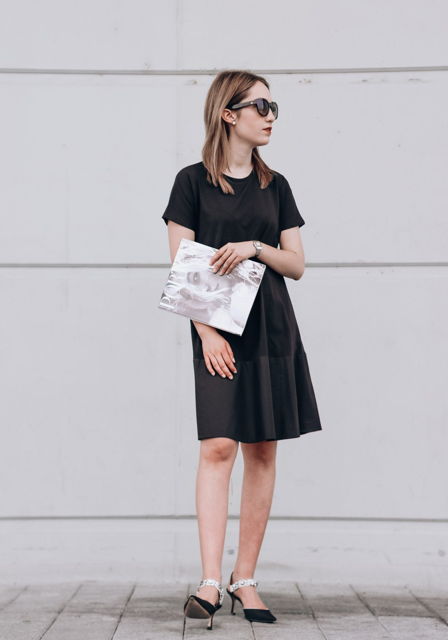 Contrast-Panelled Jersey Dress
